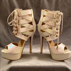Pearlescent high heels